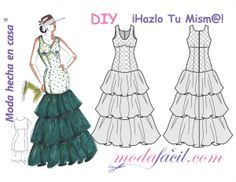 Descarga gratis los patrones de costura de este precioso vestido de fiesta flamenco Ambar, disponible en 12 tallas incluye las Tallas EXTRAGRANDES