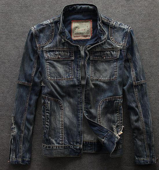 Fashion Vintage Denim Ripped Stand Collar Motorcycle Men Jeans Jacket Biker Coat   eBay