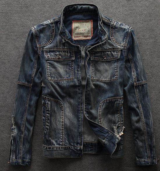 Fashion Vintage Denim Ripped Stand Collar Motorcycle Men Jeans Jacket Biker Coat | eBay