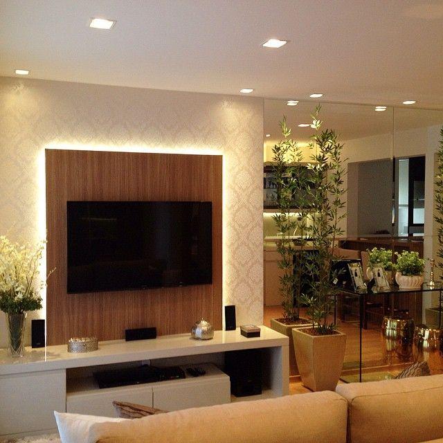 Sala De Tv Na Sacada ~ fofuras!!! Móvel tv com iluminação indireta destacando o papel de
