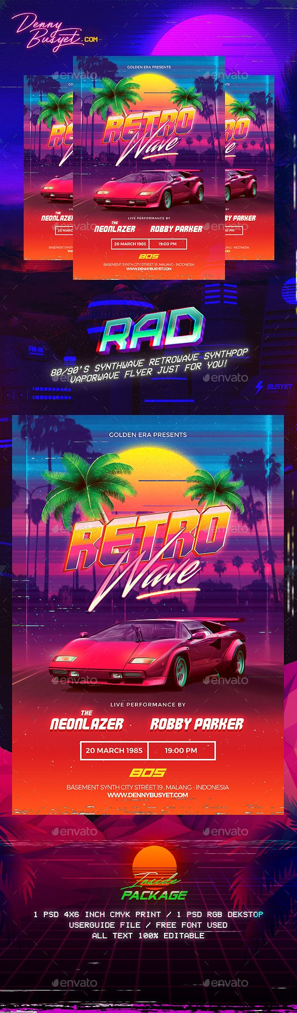 80s poster design - Retrowave 80 S Synthwave Flyer