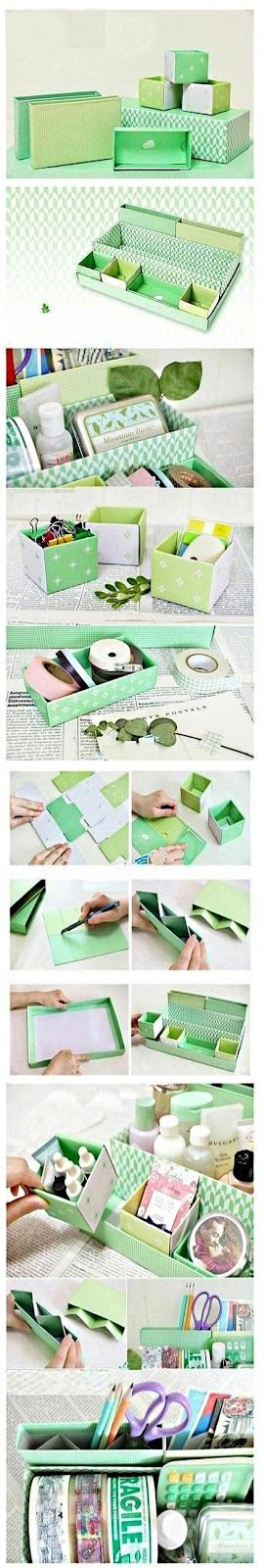 Cute site with DIY projects. Love this organizer for the desk or bedside table.