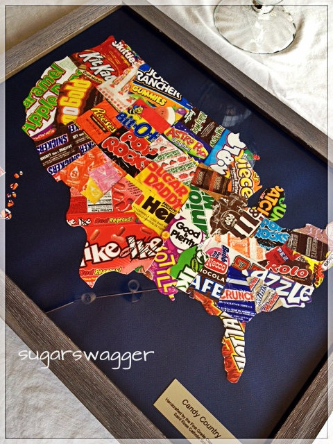 Sugar Swagger. decoupage candy country. Art auction project for the kids