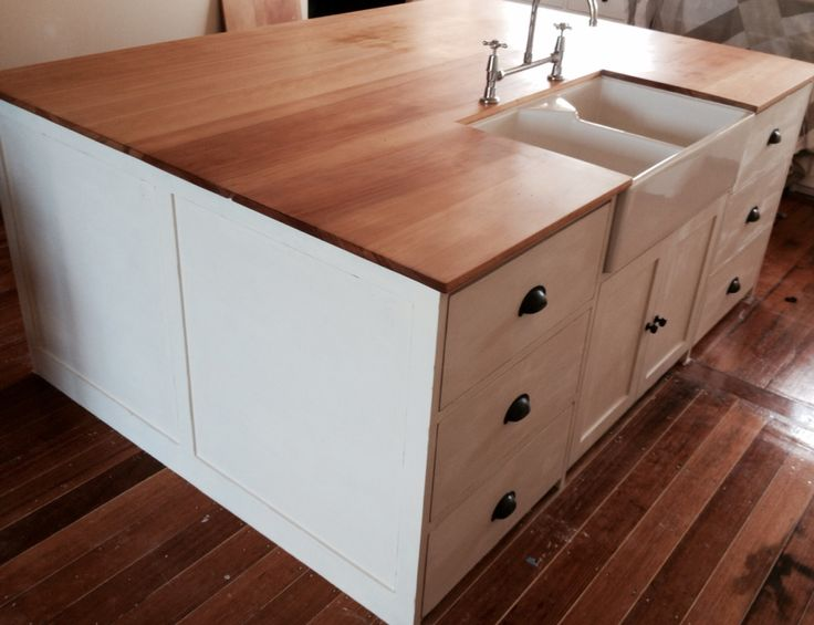 Reclaimed kauri pine bench top made from an old wardrobe.