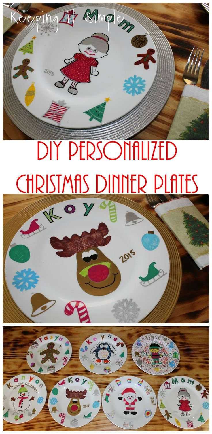 Christmas Family Tradition- DIY Personalized Christmas Dinner Plates.  This is a great family tradition and so much fun for the kids to do, plus they turn out so good!
