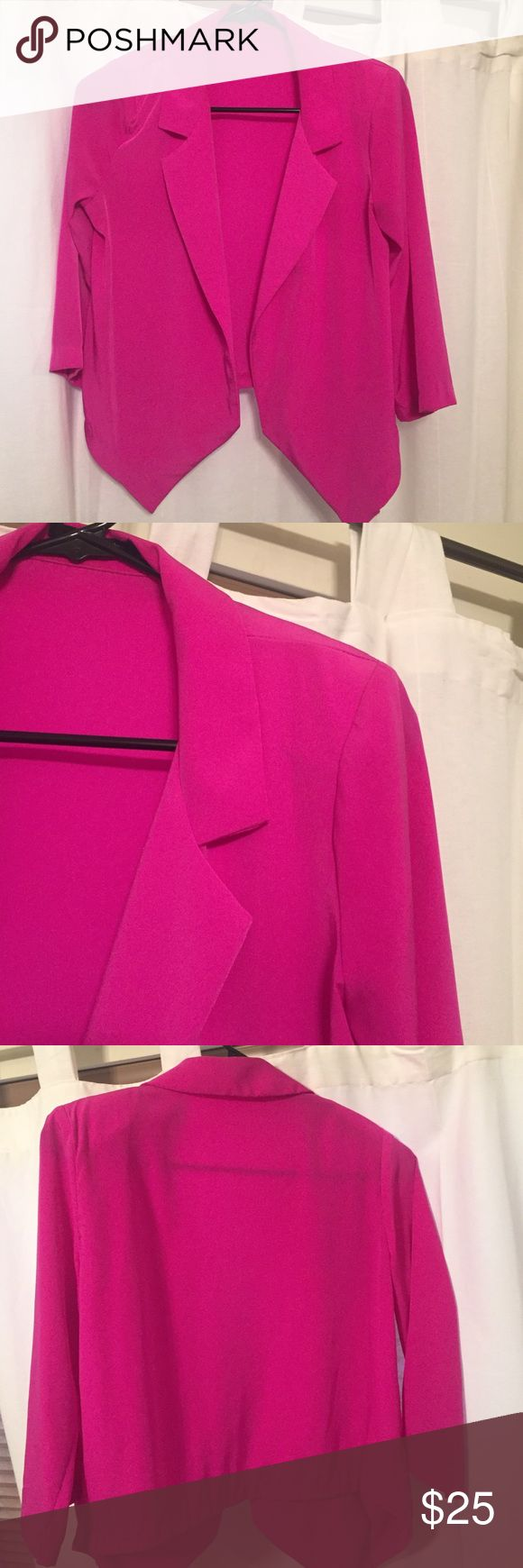 Hot pink blazer Thin but nice soft material. Hot pink cropped blazer with shoulder pad detail. Fits super cute. Foreign Exchange Jackets & Coats Blazers