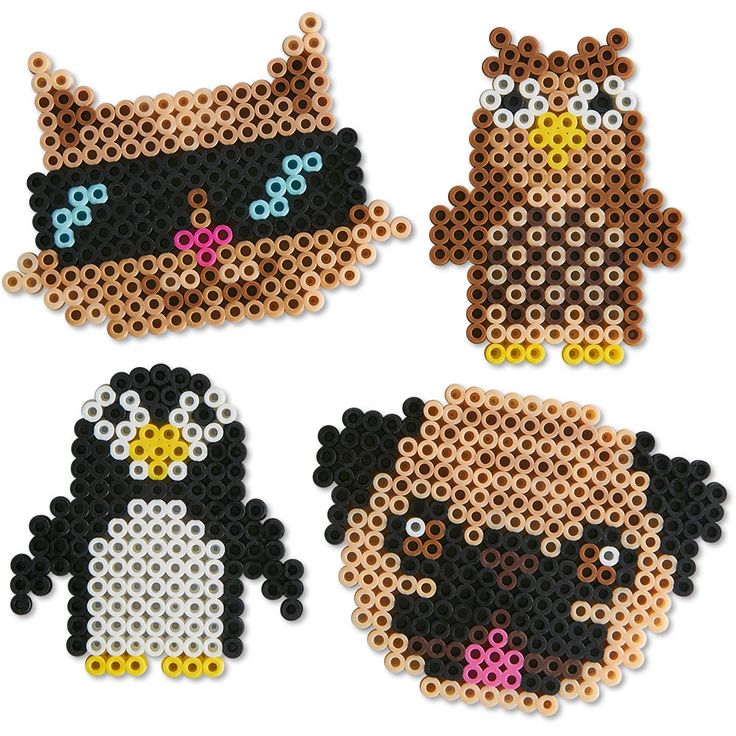 Check out the sweet faces of the fox, owl, penguin, and meerkat! Quick and easy projects to make with Perler beads.