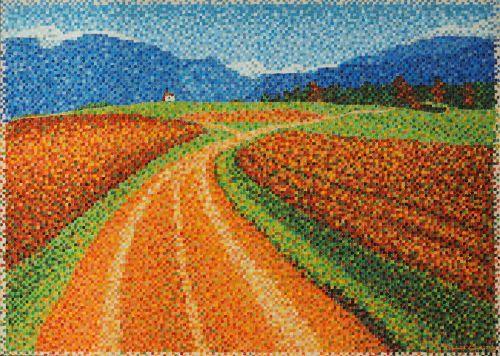 """#finearts, """"landscape 04"""", 06. 2004, #pixelism - ca. 21.800 painted pixels, acrylic on canvas, 70 x 50 cm, ■ = 4 x 4 mm, (27.56"""" x 19.69"""", ■ = 0.16"""" x 0.16"""")."""
