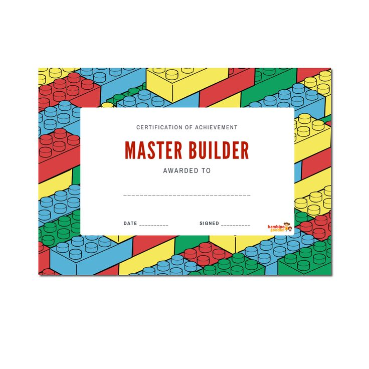 Free Master Builder Certificates and other Printables. Lego Party Inspiration.