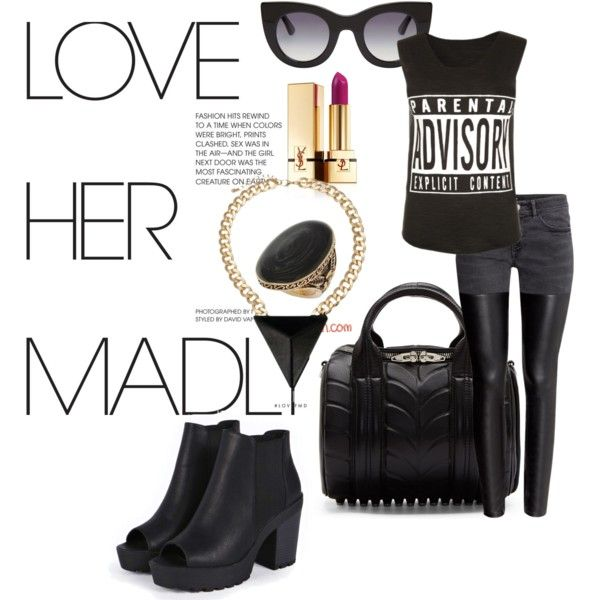 Dark Edgy Streetstyle Ootd by fashionwithapassion531 on Polyvore featuring polyvore fashion style H&M Boohoo Alexander Wang Thierry Lasry Yves Saint Laurent StreetStyle ootd fotd summertimeootd