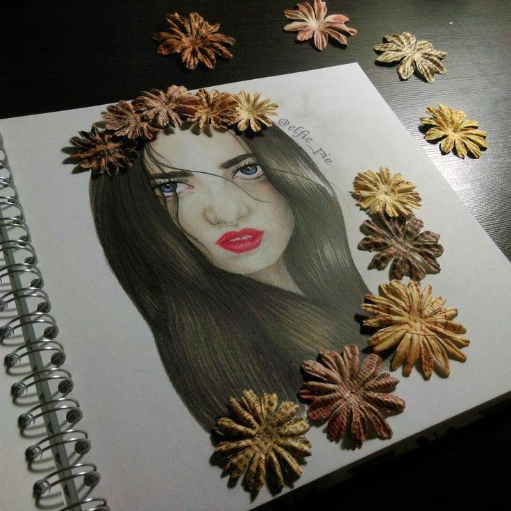 art girl portrait 2015 cool pencil draw flowers decorate