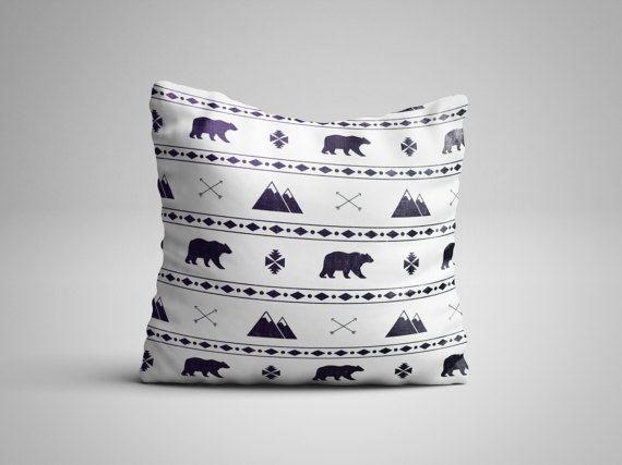 Throw Pillow - Mountain Pillow - Scandinavian Design- Mountain and Bear Pattern Pillow with insert - Seamless Pattern Decorative Pillow