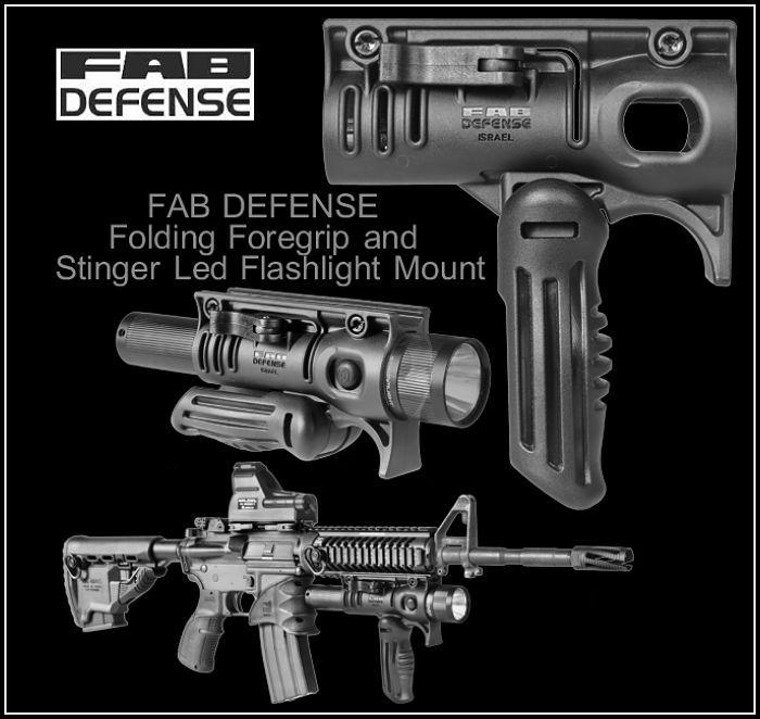 FAB DEFENSE Folding Foregrip and Stinger Led Flashlight ...