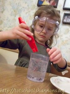 """Club Soda + Raisins = An easy """"dancing raisins"""" science activity.....and who doesn't love a dancing raisin.  PS - I will not make my pals wear goggles when we dangerously drop raisins in our La Croix."""