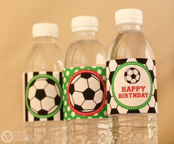 Soccer Birthday Party DIY PRINTABLE Water Bottle by venspaperie, $5.00 I'm all about personalized water bottles. You can get the 36 pack of the mini water bottles and display them on the food or cake table. This says DIY printable but for an extra fee i'm sure they will print for you.