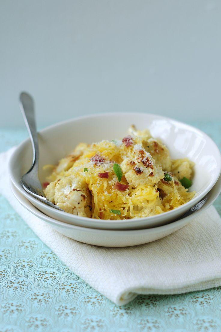 Roasted Cauliflower with Spaghetti Squash and Crisp Prosciutto - a twofer! Got cauliflower AND spaghetti squash.