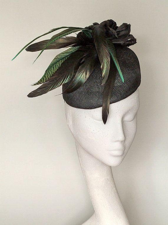 Black and Dark green Fascinator Headpiece -117