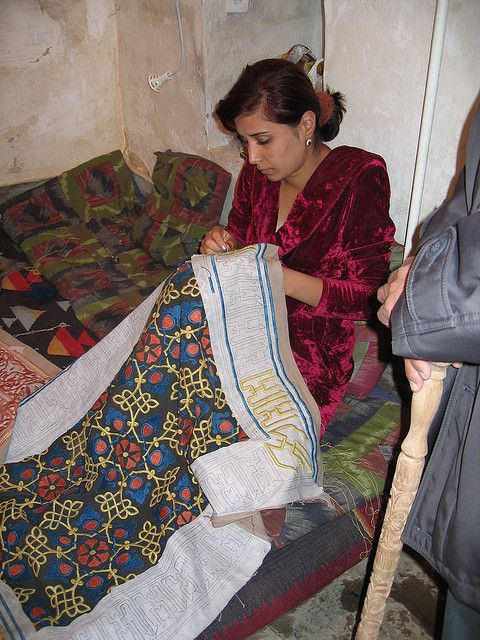 Uzbekistan...Suzani...Embroidering with Silk.