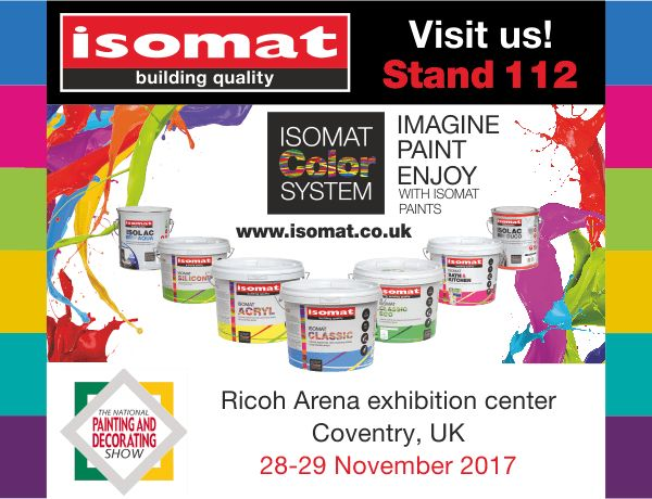 """ISOMAT will participate for the 3rd year in """"The National Painting and Decorating Show"""", which will take place at the Ricoh Arena exhibition center, in Coventry, UK, from 28 to 29 November 2017."""