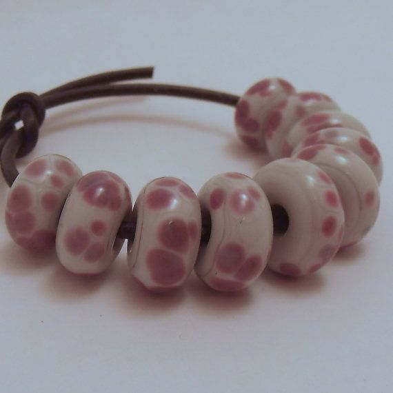Pale Grey Glass Donut Spacer Beads with Lilac by ALittleTrinket, £7.00