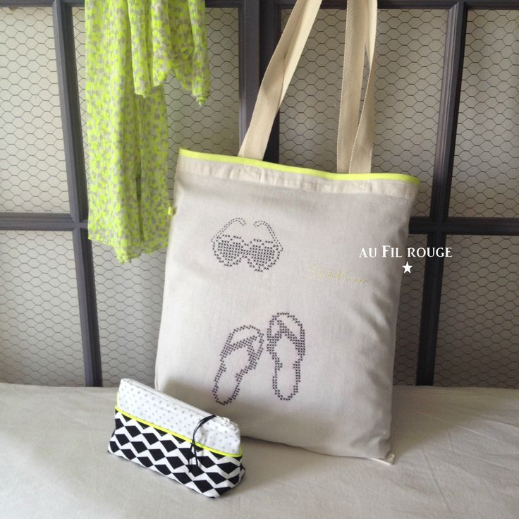 Tote bag Néon customisé avec les feuilles magiques Custom by me!  http://custombymedmc.com/fr/
