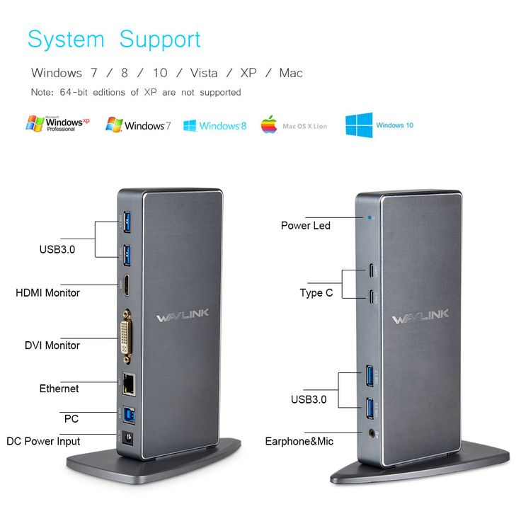 Wavlink Full HD 2048x1152 USB 3.0 Type-C & USB-C Universal Docking Station with RJ45/DVI/HDMI/VGA/MIC/Audio Port DisplayLink UK