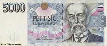 5000 Czech crown bank note celebrating Thomas Garrigue masaryk