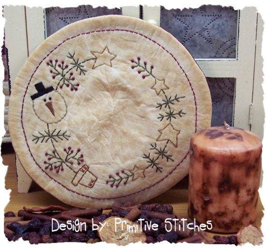 Neige sapin de Noël bougie Mat par primitif primitifs points Stitchery E-motif - téléchargement immédiat