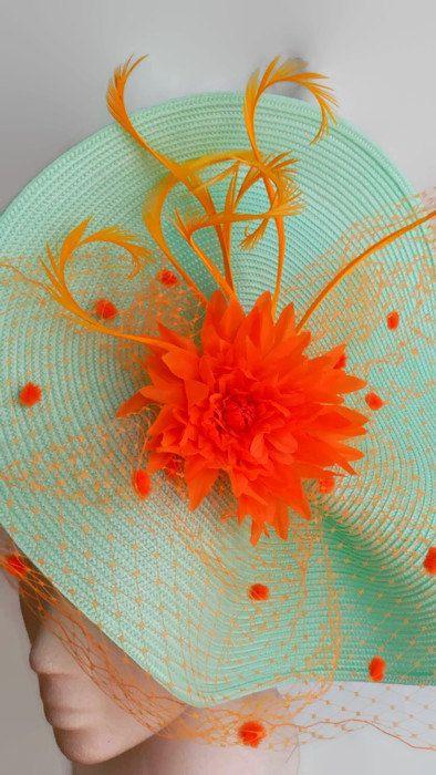 Tocado naranja y turquesa tocado boda aguamarina por Tocchic