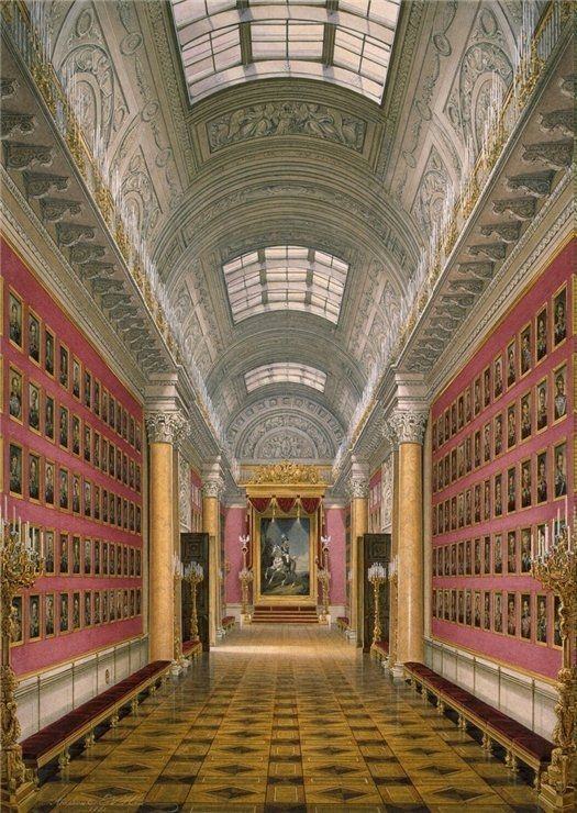 """Interiors of the Winter Palace. The War Gallery of 1812″by Edward Petrovich Gau (1807-1887)."