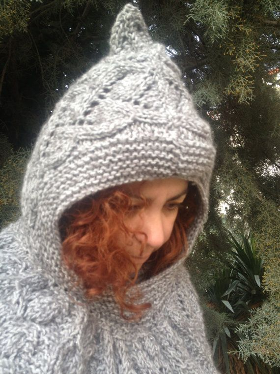 Hooded Cape Knitted capelet lace Grey silver by PixiesFairies