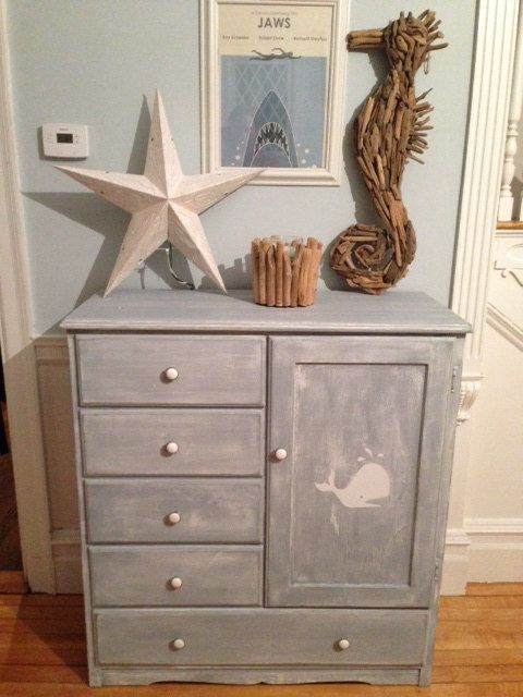Vintage Wardrobe Dresser Refinished In Slate Blue Milk Paint White Whale Perfect For Nautical Nursery On