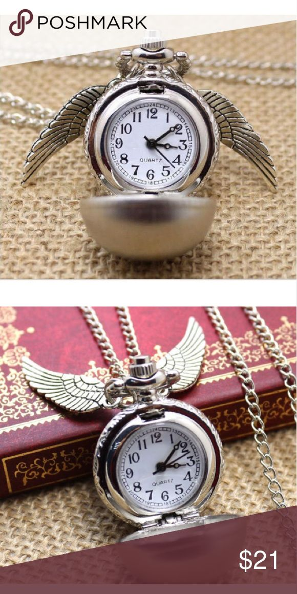 "Harry Potter Golden Snitch Wings Pocket Watch Neck A high quality quartz movement-hour, minute, second hand display silver tone finish, can be worn as a necklace watch. Inspired by the Harry Potter film. Perfect gift for Harry Potter fans or for anyone.                         Metals Type: Zinc Alloy                                                Pendant Size: Approx. 0.9"" X 1.1""                                   Length: Approx. 30""…"
