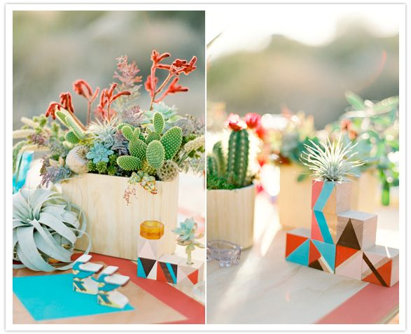 wooden box planters of succulents and cacti centerpieces