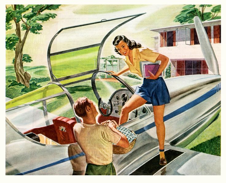 """This is supposedly an ad from 1946, but I can't find much about it. It's a great image though—""""Take Your Private Winged Chariot For A Picnic""""."""