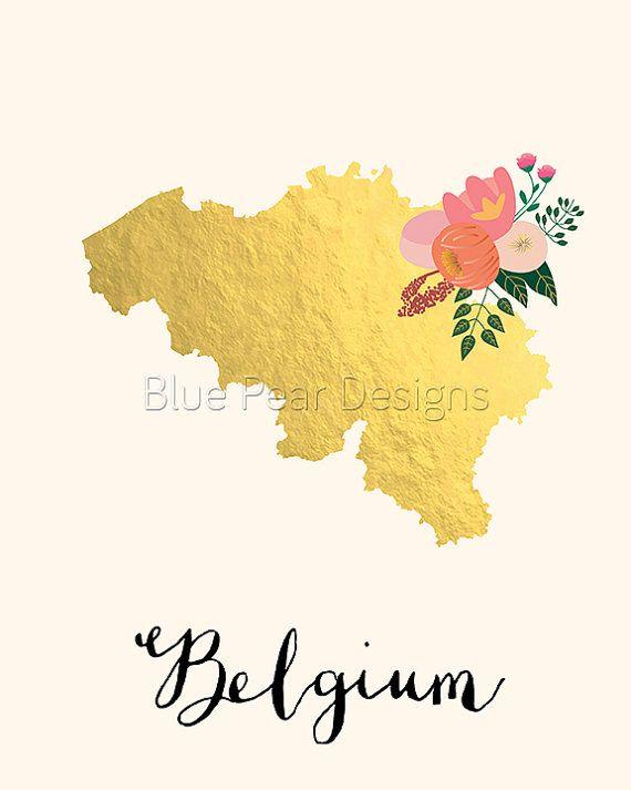 Belgium Map Belgium Art Belgium Poster by WhitespaceAndDaisy