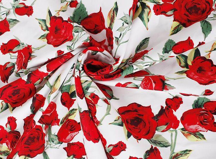 LEO & LIN Урожай одежда синий / белый зеленые листья красная роза слегка эластичный сатин Лоскутная Хлопок Ткань Tissus (1 метр)