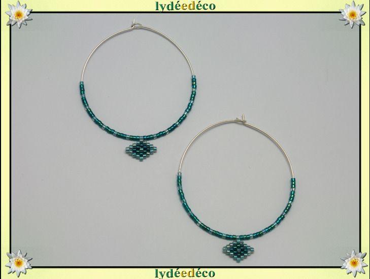 Boucles d'oreilles Creoles perles vert turquoise argent 925 diametre 45mm : Boucles d'oreille par lydeedeco
