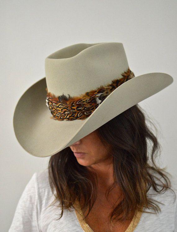 5 x Resistol castor chapeau de Cowboy, 7 1/8, unisexe, plume de faisan bande, automatique conforme gris chapeau de Cowboy w/Original Box, chapeau Western