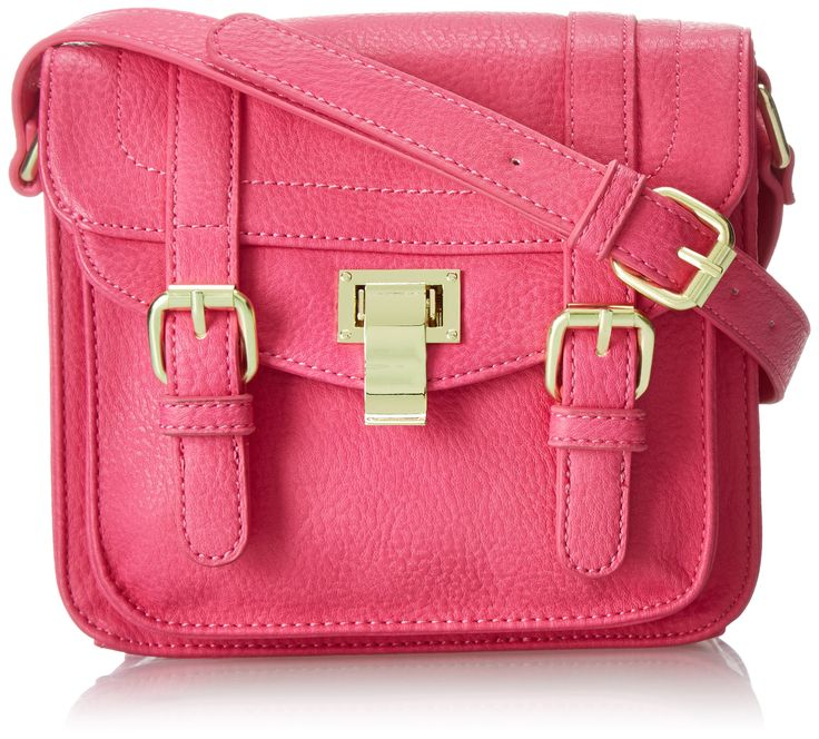 """Steve Madden Blocks Cross Body Bag,Raspberry,One Size. Includes interior back wall zipper pocket and two interior multi-function pockets. Exterior multi-function pocket. Shoulder strap length: 53.5""""."""