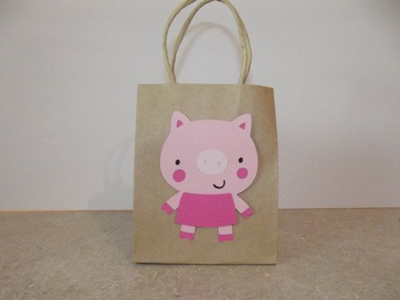 Pig Party Favor Bag Set of 8 by armywife711 on Etsy, $8.00