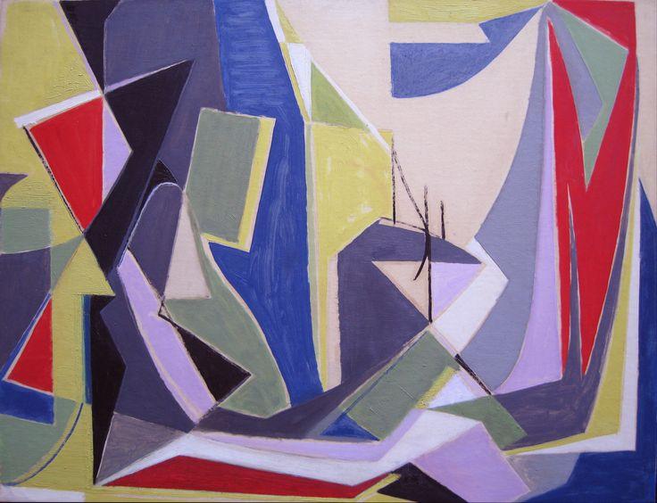 'Study for Joie d'Été' Oil on paper laid down on canvas: 50 x 64 cm by Othello Radou (1910 - 2006)  http://www.johnadamsfineart.com/artists/othello-radou/