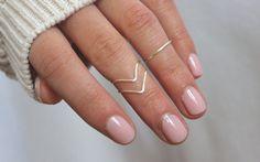 Eine Reihe von drei Knöchel-Ringe! (2 Chevron Stil und 1 Band-Stil) Dies sind die Silber Knöchel Ringe aus nicht trüben Kupferdraht versilbert