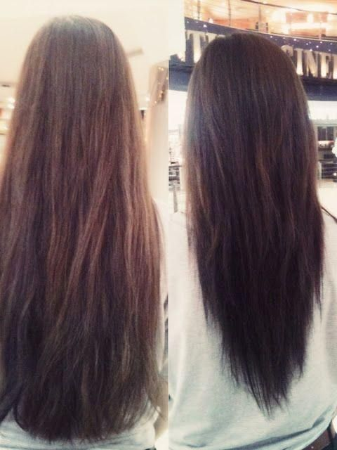 V-Layered Cut before after. I need to do this to my hair.