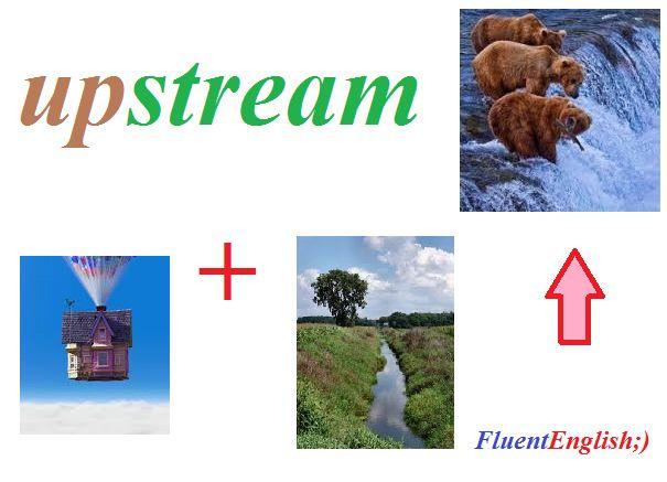 up + stream = upstream! (против течения, против потока, вверх по течению)  #английский #английскийвесело #английскийскайп #английскийразговорный#английскийслова #английскийонлайн #английскийчерезскайп#английскийрепетиторы #учитьанглийский #fluentenglish