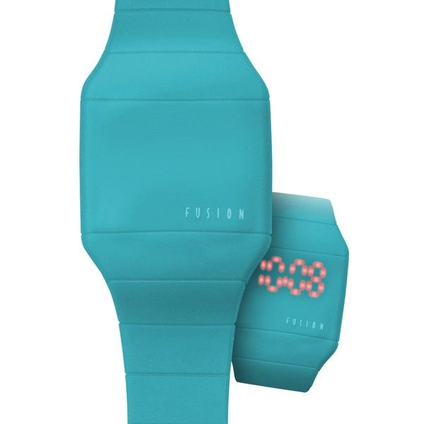 Dakota Fusion Women's 'Aqua Hidden Touch' Digital LED Watch ($16) ❤ liked on Polyvore featuring jewelry, watches, blue, aqua watches, quartz movement watches, digital watches, plastic crown and blue dial watches