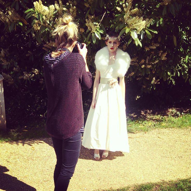 Gatsby fur collar #bridal by Blanche in the Brambles. Stephanie Allin Frankie. Headdress Hermione Harbutt Florrie