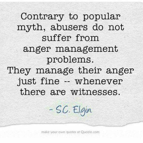 Yes!!!!! So they can and do control themselves when other people will find out! This is why you need to tell other people. The abuser should be embarrassed about their ridiculous behavior, NO EXCUSES!!!!