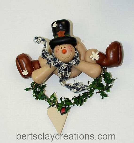 *POLYMER CLAY ~ Snowman with Heart Ornament