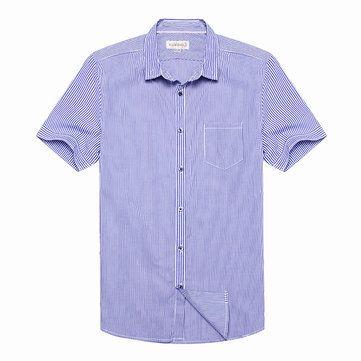 Designer Men's Brief Style Blue Striped Short-sleeved Slim Fit Casual Shirt - NewChic